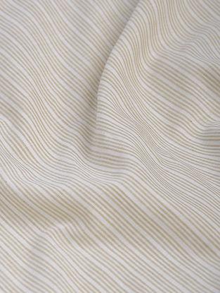 Beige-White Striped Khadi-Cotton Fabric