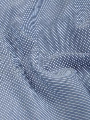 Blue-White Striped Khadi-Cotton Fabric