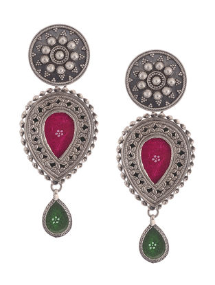 Pink-Green Glass Tribal Silver Earrings