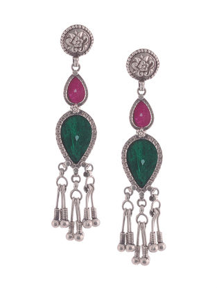 Green-Pink Glass Tribal Silver Earrings with Floral Motif