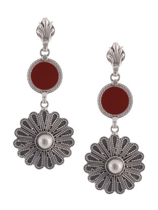Maroon Glass Tribal Silver Earrings with Floral Design
