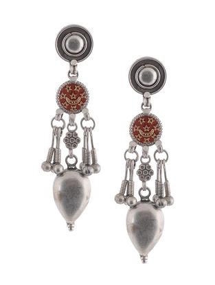 Brown Glass Tribal Silver Earrings