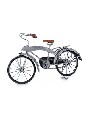 Grey Iron and Wood Bicycle Miniature (L:18.6in, W:5in, H:10.6in)