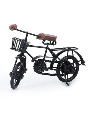 Black Iron and Wood Bicycle Miniature (L:10in, W:3.7in, H:7in)