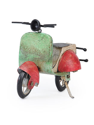 Green-Red Iron Scooter Miniature (L:7.7in, W:3.2in, H:6.3in)