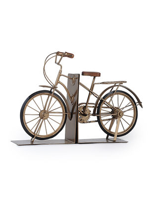 Golden Iron and Wood Miniature Bike Book Ends (Set of 2) (L:18.7in, W:4.5in, H:12.2in)