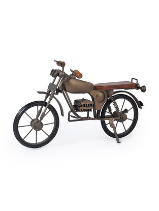 Brown Iron and Wood Motorcycle Miniature (L:15.5in, W:6.1in, H:9.5in)