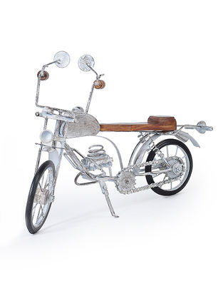 White Iron and Wood Motorcycle Miniature (L:16in, W:4.5in, H:11.1in)