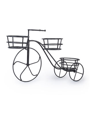 Iron Bike with Three Bucket Planters (L:22.5in, W:6.6in, H:13in)