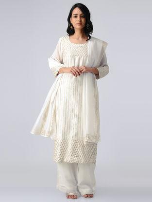 White Chanderi Silk Kurta with Gota Work