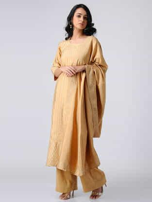 Gold Chanderi Silk Kurta with Gota Work