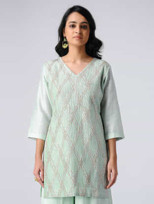Blue Pintuck Chanderi Silk Kurta with Gota Work