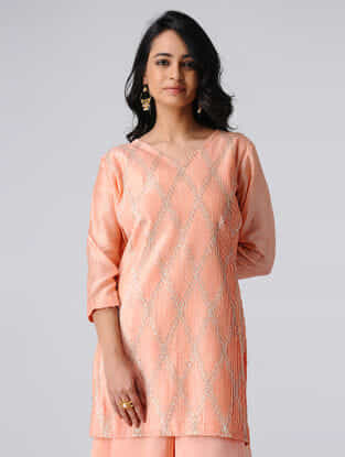 Peach Pintuck Chanderi Silk Kurta with Gota Work