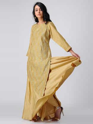 Gold Pintuck Chanderi Silk Kurta with Gota Work