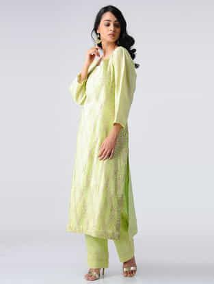Green Pintuck Chanderi Silk Kurta with Gota Work