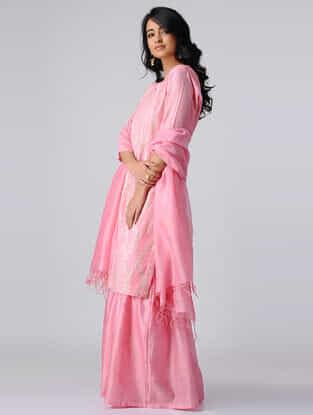 Pink Pintuck Chanderi Silk Kurta with Gota Work