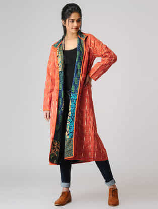 Rust Ikat Cotton Jacket with Kantha Embroidery and Pockets