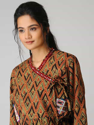 Brown Ikat Cotton Jacket with Mirror Work