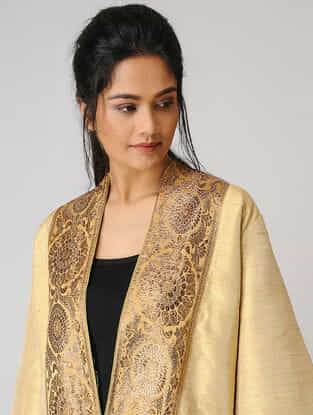 Beige Silk Jacket with Zari Border