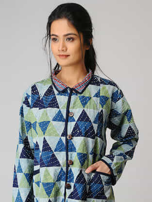 Blue-Green Cotton Jacket with Kantha Work and Pockets
