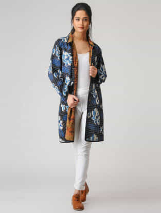 Blue-Black Printed Cotton Jacket with Kantha Work and Pockets