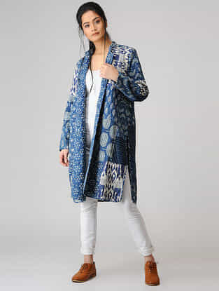 Indigo Cotton Jacket with Kantha Embroidery and Patch Work