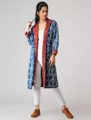 Indigo Cotton Jacket with Kantha Embroidery
