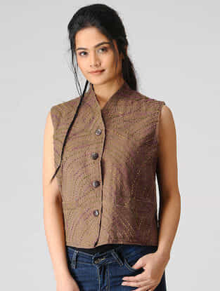 Brown Woolen Jacket with Kantha Work