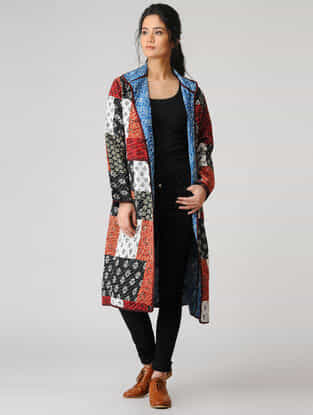 Multicolored Cotton Jacket with Kantha Embroidery and Patch Work