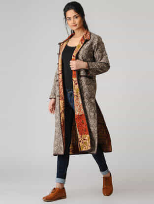 Brown Cotton Jacket with Kantha Embroidery and Patch Work