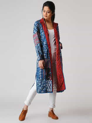 Blue Cotton Jacket with Kantha Embroidery