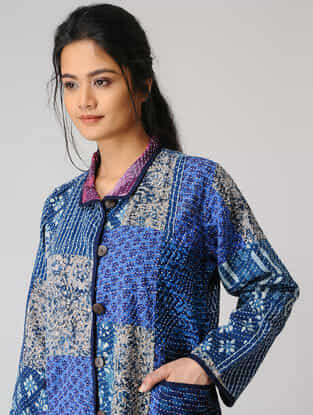 Blue Cotton Jacket with Kantha Embroidery and Patch Work