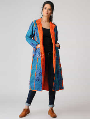 Blue Cotton Jacket with Kantha Work