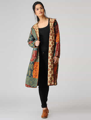 Multicolored Cotton Jacket with Kantha Work