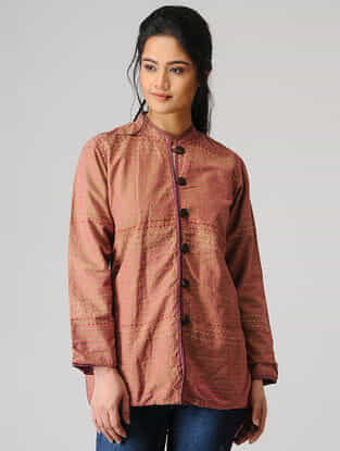 Rust Cotton Jacket with Kantha Work