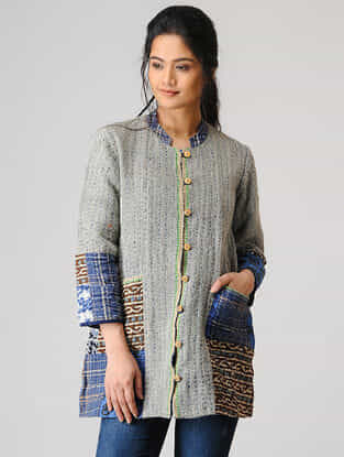 Grey Wool Jacket with Kantha Embroidery and Patch Work
