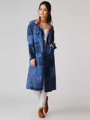 Indigo Cotton Jacket with Kantha Work
