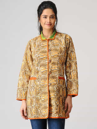 Brown Cotton Jacket with Kantha Work