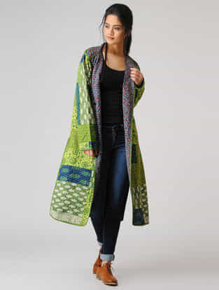 Green-Blue Cotton Jacket with Kantha Work