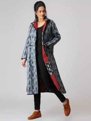 Grey-Black Cotton Jacket with Kantha Work