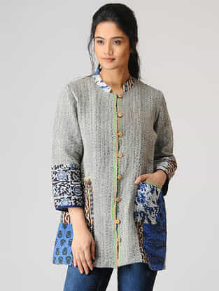 Grey Woolen Jacket with Kantha Work