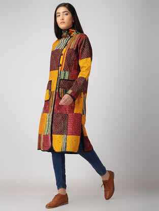 Multicolor Ikat Silk-Cotton Jacket with Kantha Work