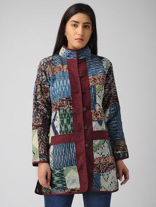 Multicolor Striped Cotton-Wool Jacket