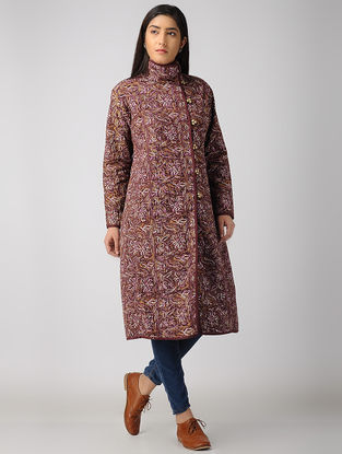 Purple Block-printed Cotton-Denim Jacket