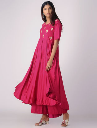 Pink Pleated Khari-printed Cotton Rayon Kurta with Palazzos (Set of 2)