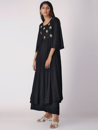 Black Khari-printed Cotton Rayon Kurta with Gathers