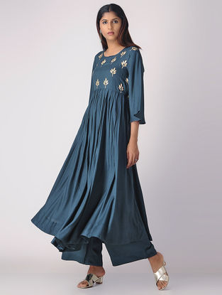 Teal Pleated Khari-printed Cotton Rayon Kurta