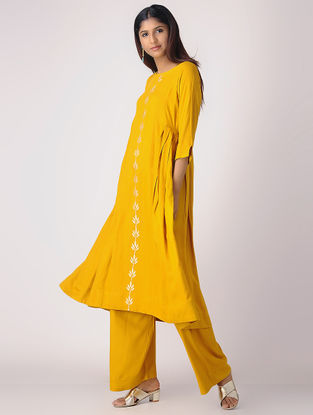 Mustard Khari-printed Cotton Rayon Kurta with Side Pleats