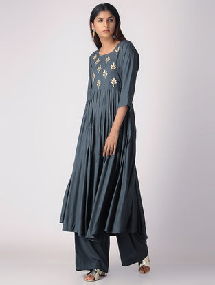 Charcoal Pleated Khari-printed Cotton Rayon Kurta