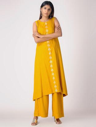 Mustard Khari-printed Cotton Rayon Kurta
